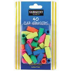 40Ct Assorted Color Cap Eraser, SAR361015