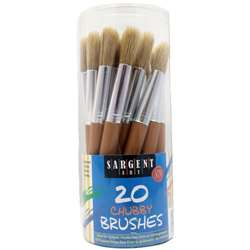 20Ct Jumbo Brushes Wooden Handles In Canister By Sargent Art