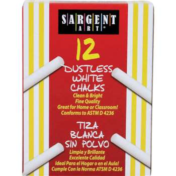 Sargent School Gr Dustless Chalk White, SAR662012