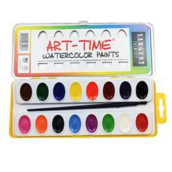 16 Art Time Semi Moist Colors W/ Brush By Sargent Art