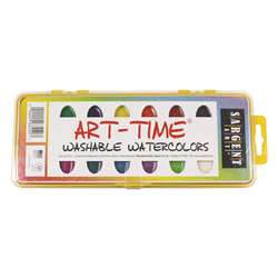 16 Art Time Semi Moist Washable Colors W/ Brush By Sargent Art