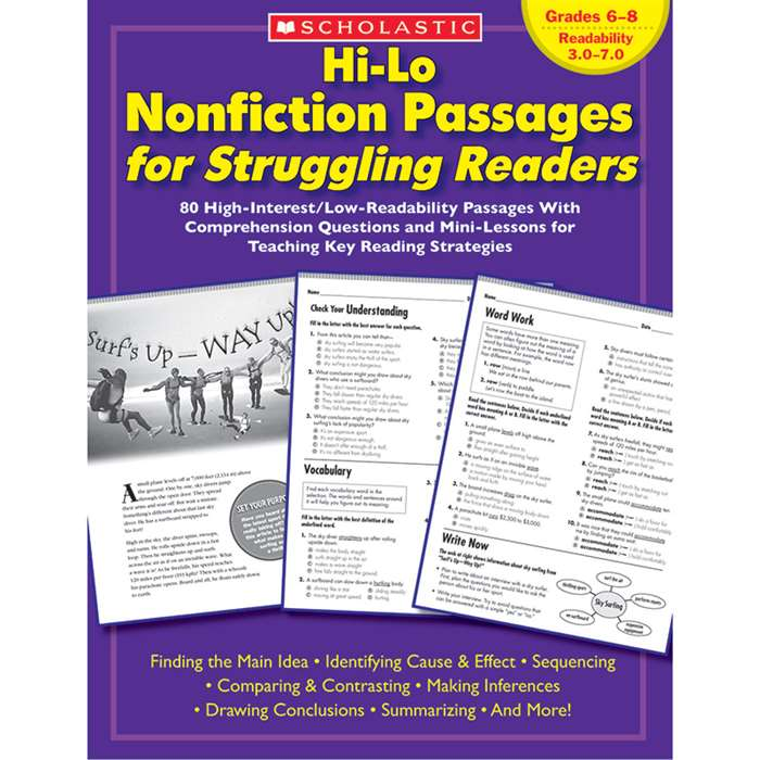 Hi-Lo Nonfiction Passages Gr 6-8 For Struggling Readers By Scholastic Books Trade