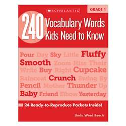 240 Vocabulary Words Kids Need To Know Gr 1 By Scholastic Books Trade