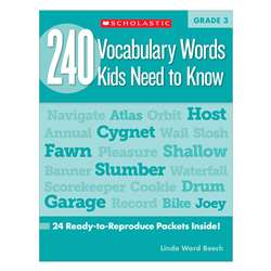 240 Vocabulary Words Kids Need To Know Gr 3 By Scholastic Books Trade