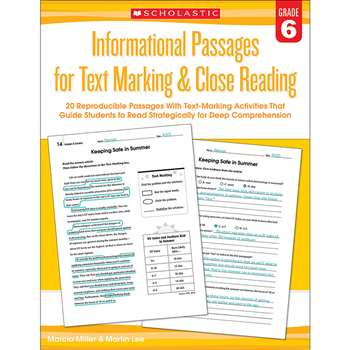 Gr 6 Informational Passages For Text Marking & Clo, SC-579383