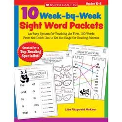 10 Week By Week Sight Word Packets By Scholastic Books Trade
