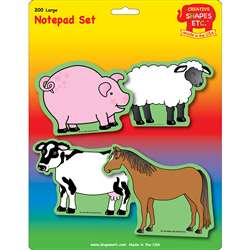 Creative Shapes Notepad Farm Animals Set Large By Creative Shapes Etc