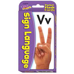 Pocket Flash Cards Sign Language 56-Pk 3X5 Two-Sided Cards By Trend Enterprises