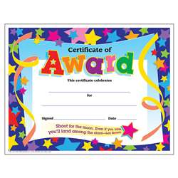Certificate Of Award Stars 30/Pk 8-1/2 X 11 By Trend Enterprises