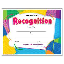 Certificate Of Recognition Colorful By Trend Enterprises