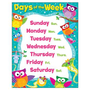 Owl Days Of The Week Learning Chart By Trend Enterprises