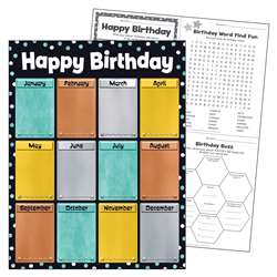 Birthday I Heart Metal Learn Chart, T-38461
