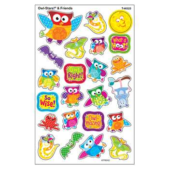 Owl Stars & Friends Supershapes Stickers Large By Trend Enterprises