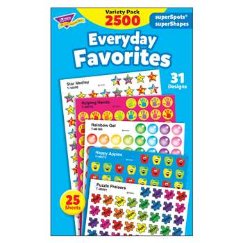 Everyday Favorites Variety Pk Superspots/Shapes Stickers By Trend Enterprises