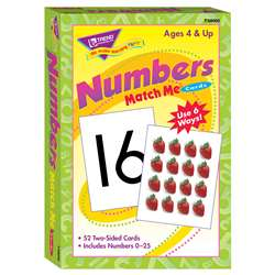 Match Me Cards Numbers 0-25 52/Box Two-Sided Cards Ages 4 & Up By Trend Enterprises