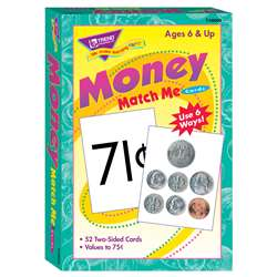 Match Me Cards Money 52/Box Two Sided Cards Ages 6 & Up By Trend Enterprises
