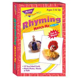 Match Me Cards Rhyming 52/Box Words Two-Sided Cards Ages 5 & Up By Trend Enterprises