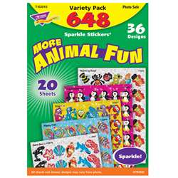 Animal Fun Sparkle Stcker Var Pack 656Ct, T-63910