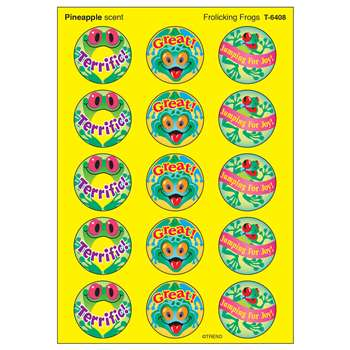 Stinky Stickers Frolicking 60/Pk Frogs Acid-Free Pineapple By Trend Enterprises