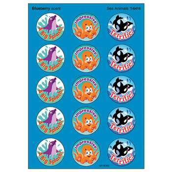 Stinky Stickers Sea Animals 60/Pk Acid-Free Blueberry By Trend Enterprises
