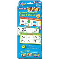 Alphabet Numbers Colors & Shapes Wipe Off Bingo, T-6601