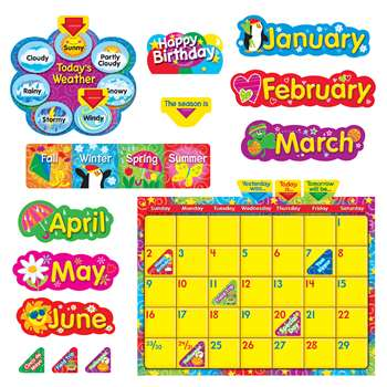 Wipe Off Stars N Swirls Calendar Cling Bulletin Board Set By Trend Enterprises