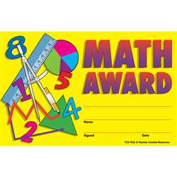Math Awards 25Pk 8-1/2 X 5-1/2 By Teacher Created Resources