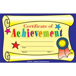 Certificate Of Achievement 25Pk 8-1/2 X 5-1/2 By Teacher Created Resources