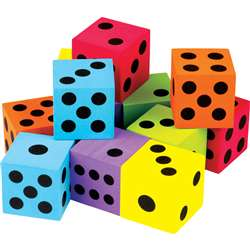 12 Pack Foam Colorful Large Dice, TCR20809