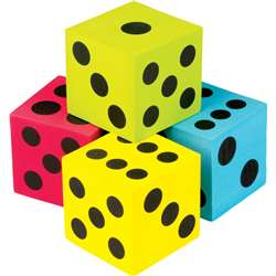 4 Pack Foam Colorful Jumbo Dice, TCR20810