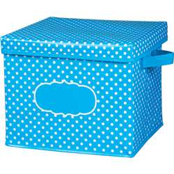 Aqua Polka Dots Storage Bin with Lid, TCR20817