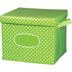 Lime Polka Dots Storage Bin with Lid, TCR20820