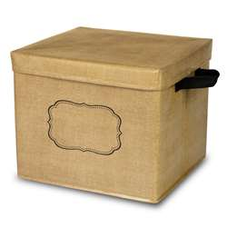 Burlap Storage Bin Box with Lid, TCR20834