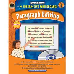 Interactive Learning Gr 4 Paragraph Editing W/Cd By Teacher Created Resources