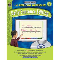 Interactive Learning Gr 3 Daily Sentence Editing Bk W/Cd By Teacher Created Resources