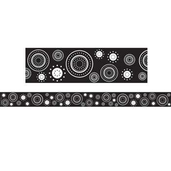 Black/White Crazy Circles Straight Border Trim By Teacher Created Resources