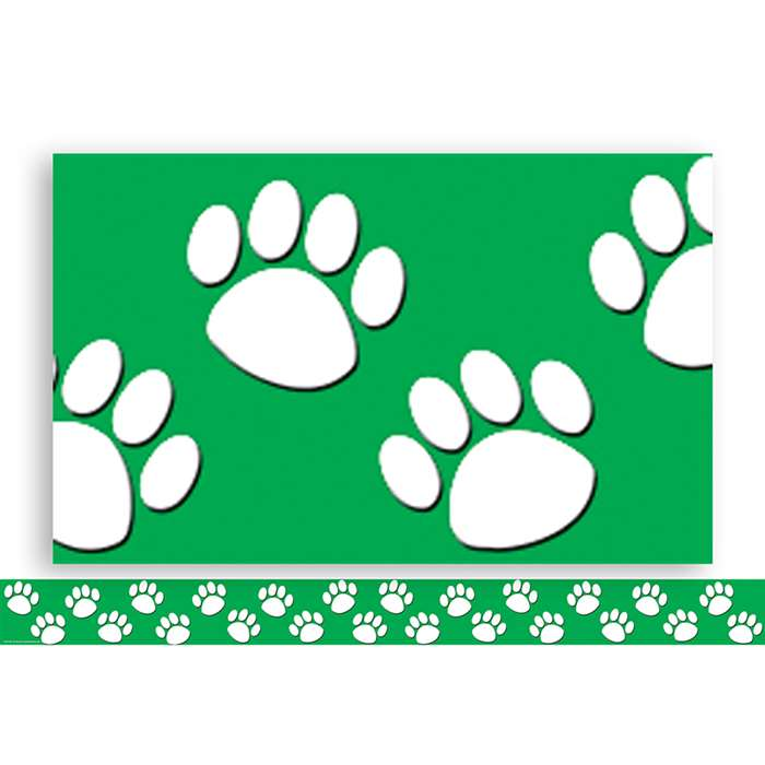 Green With White Paw Prints Straight Border Trim By Teacher Created Resources