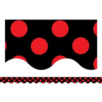 Red Polka Dots On Black Border Trim By Teacher Created Resources