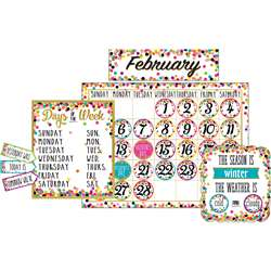 Confetti Calendar Bulletin Board Set, TCR5443