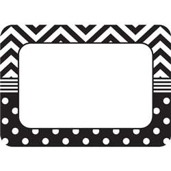 Shop B&W Chevron And Dots Name Tags - Tcr5548 By Teacher Created Resources
