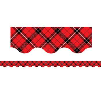 Red Plaid Scalloped Border Trim, TCR5658