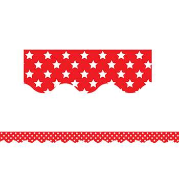 Red With White Stars Scalloped Border Trim, TCR5809