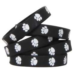 Black W White Paw Prints Wristbands, TCR6570