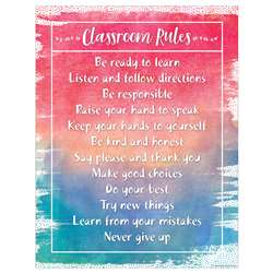 Watercolor Classroom Rules Chart, TCR7554