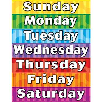 Days Of The Week Chart By Teacher Created Resources