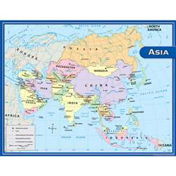Asia Map Chart 17X22 By Teacher Created Resources