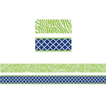 Wild Moroccan Navy & Lime Double Sided Border, TCR77095