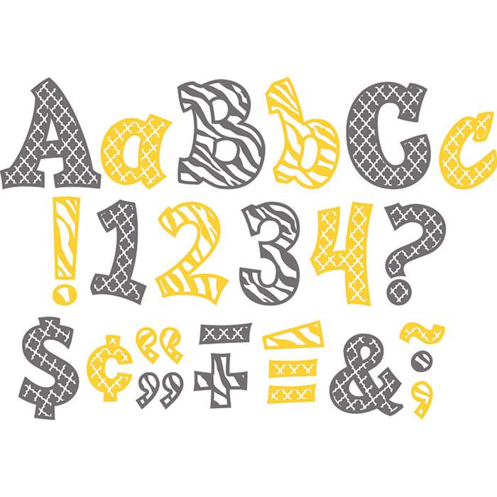 "Wild Moroccan Sassy Fonts 5"" Lemon & Gray, TCR77120"