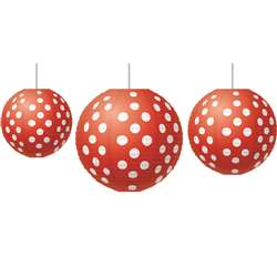Red Polka Dots Paper Lanterns, TCR77227
