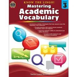 Know The Lingo Gr 3 Mastering Academic Vocabulary, TCR8133